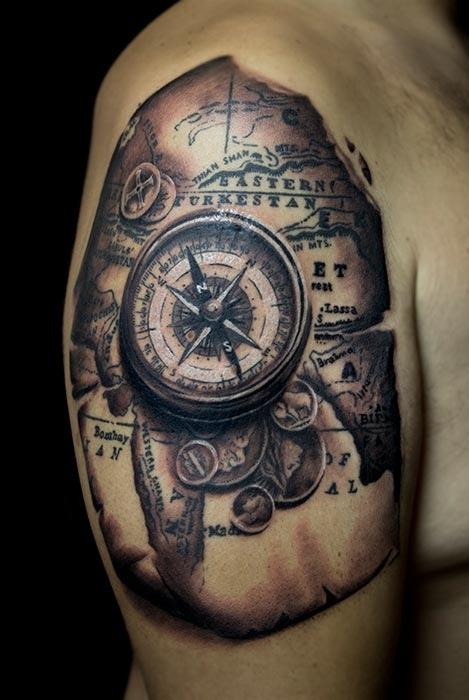 invictus compass tattoo images galleries with a bite. Black Bedroom Furniture Sets. Home Design Ideas