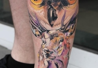 Invictus-Tattoo-Budapest-Berlin-Csaba-Koszegi-tattooist-tetovalo-artist bagoly owl deer szarvas eule hirsch